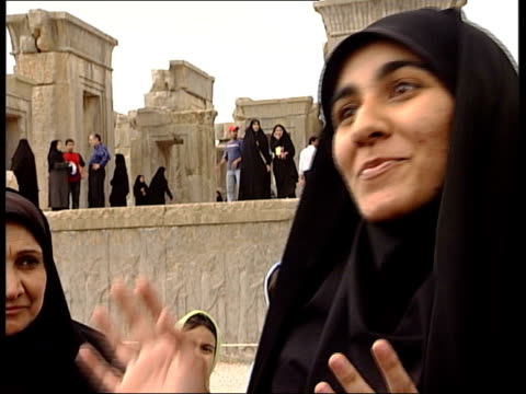 tehran to allow ancient artefacts to be exhibited in europe gv ruins of persepolis with lots of iranian tourists zahra interview sot on the... - persepoli video stock e b–roll