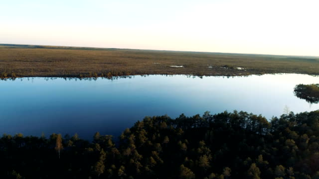 Teici Swamp and Tolkaja lake at a spring in Latvia