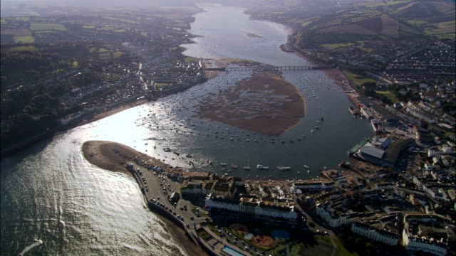 teignmouth  - aerial view - england, devon, teignbridge district, united kingdom - devon stock videos & royalty-free footage
