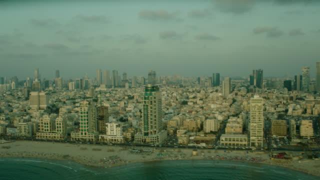 tel aviv aerial coastline side traveling - tel aviv stock videos & royalty-free footage