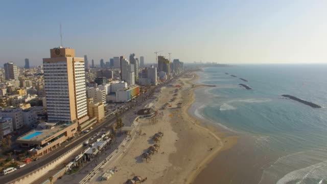 tel aviv aerial/ mediterranean coastline with hotels, beaches and marina, israel - tel aviv stock videos & royalty-free footage