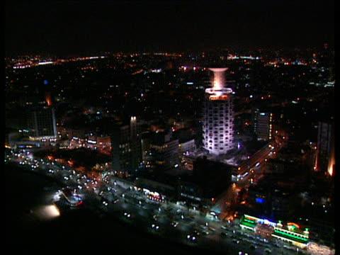 aerial ws tel aviv at night, dan metropolis, israel - tel aviv stock-videos und b-roll-filmmaterial