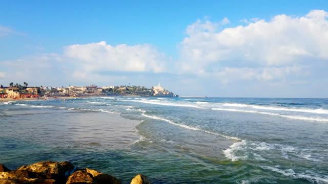 tel aviv beach- view to jaffa (yaffo) - jaffa stock videos & royalty-free footage