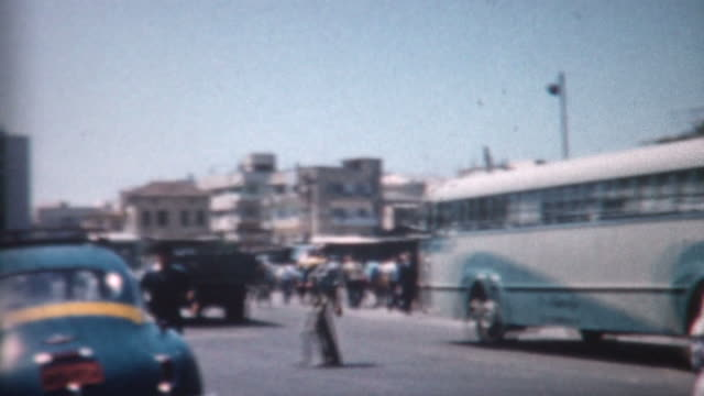 tel aviv bus station 1962 - historical palestine stock videos & royalty-free footage