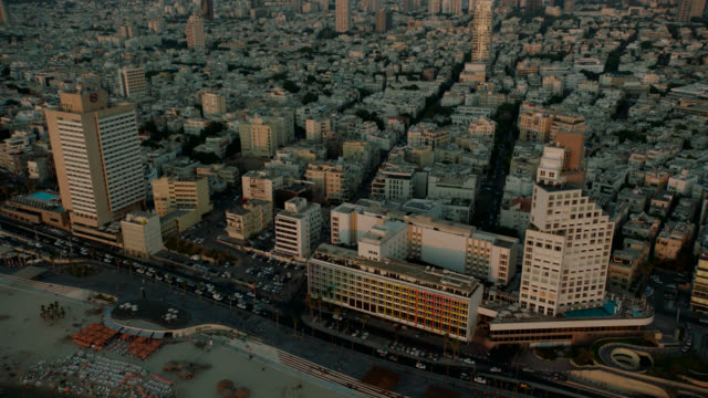 Tel Aviv CIty Aerial Coastline Buildings