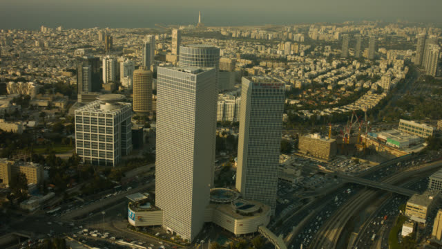 tel aviv city azrieli towers aerial shot - israel stock-videos und b-roll-filmmaterial