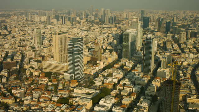 Tel Aviv City skyline aerial shot