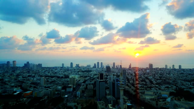 tel aviv cityscape from above at sunset - israel stock videos & royalty-free footage