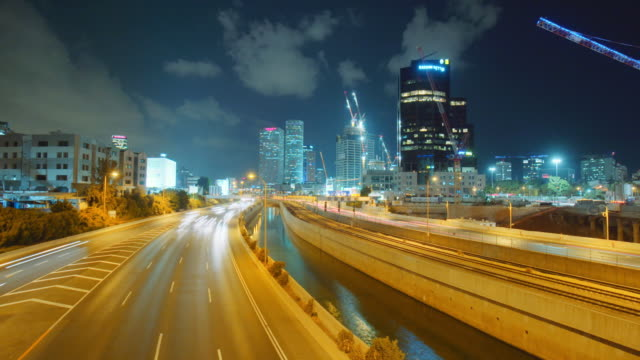tel aviv, israel city night timelapse - israel stock-videos und b-roll-filmmaterial