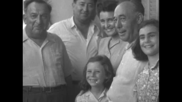 tel aviv mayor israel rokach on right with wife and two daughters standing next to avraham krinitzi head of council of ramat gan all posing for photo... - 1947 stock videos & royalty-free footage