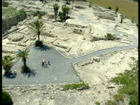 aerial ws tel megido archaeological site in jezreel valley, israel - besichtigung stock-videos und b-roll-filmmaterial