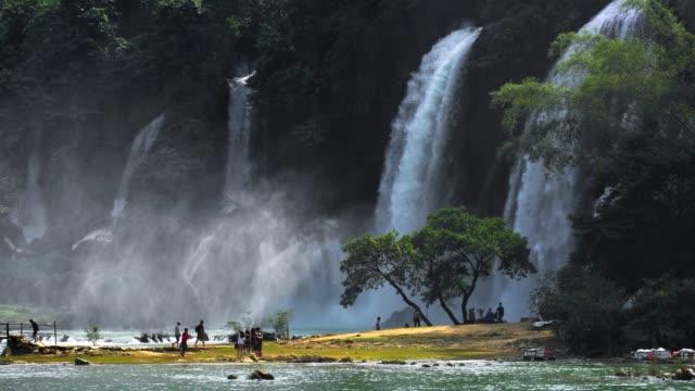 Tele view Bangioc waterfall in Vietnam located near border next to China.