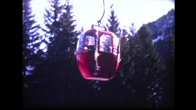 1966 telecabine heading up mountain - winter sport stock videos & royalty-free footage
