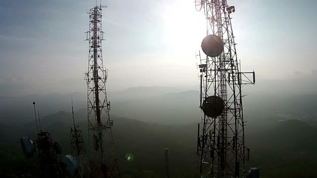 telecommunication mast tv antennas - microwave stock videos & royalty-free footage