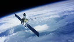 Telecommunication satellite. Cinema quality 3D animation. High defitnition.