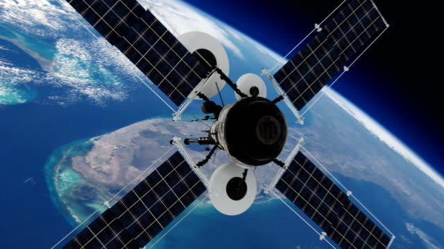 Telecommunication satellite orbiting Earth.