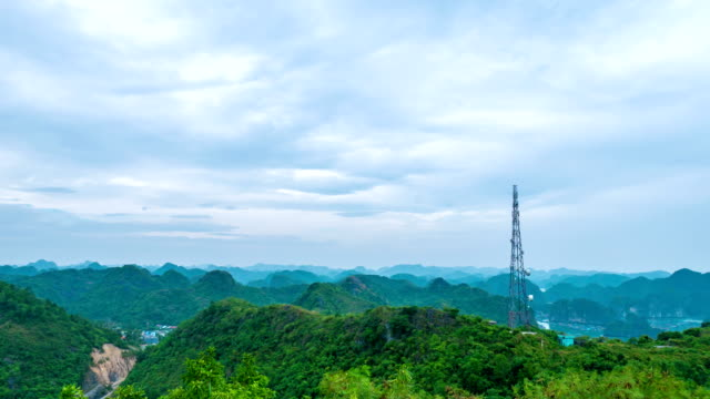 telecommunication tower on beautiful mountain, vietnam, time lapse - image manipulation stock videos and b-roll footage
