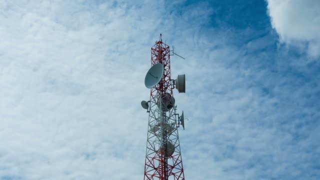 Telecommunication tower wireless technology with blue sky