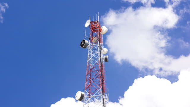 Telecommunication Tower with blue skies and clouds,Timelapse