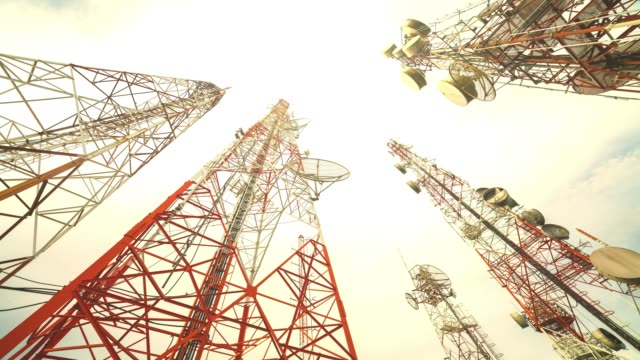 4k: telecommunication towers - communications tower stock videos & royalty-free footage