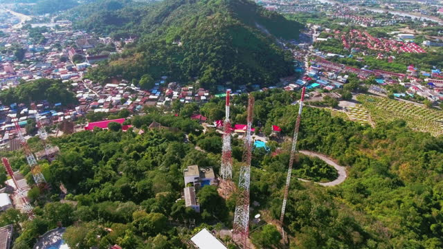 telecommunications aerial view over mountain - village stock videos & royalty-free footage