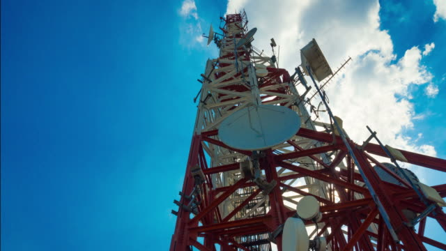 telecommunications tower against blue sky - animal antenna stock videos & royalty-free footage