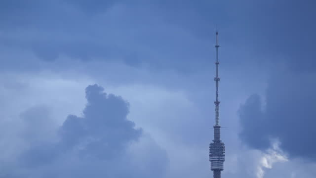 telecommunications tower in ostankino - telephoto lens stock videos and b-roll footage