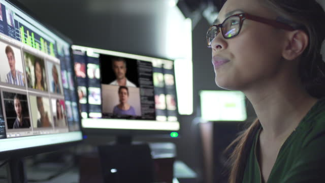 teleconferencing dark office - only women stock videos & royalty-free footage