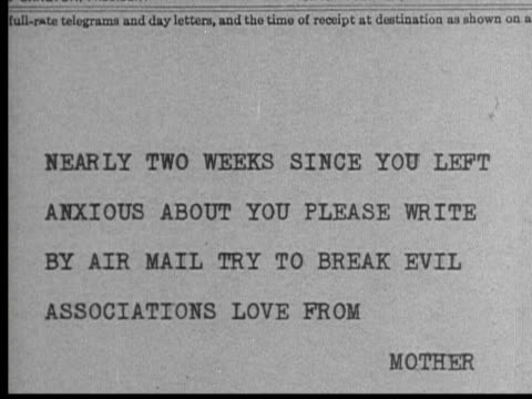 1931 b/w montage cu telegram from anxious mother/ ms man reading and deciding to keep telegram/ los angeles, california, usa - telegram stock videos and b-roll footage