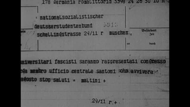 cu telegram in italian stating that university fascists will be represented at nuremberg by santoni / german translation of the telegram - telegram stock videos & royalty-free footage