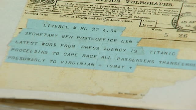 telegram service stopped agter 163 years england london reporter and chris taft chris taft interview sot these relate to titanic close shots of... - live sendung stock-videos und b-roll-filmmaterial