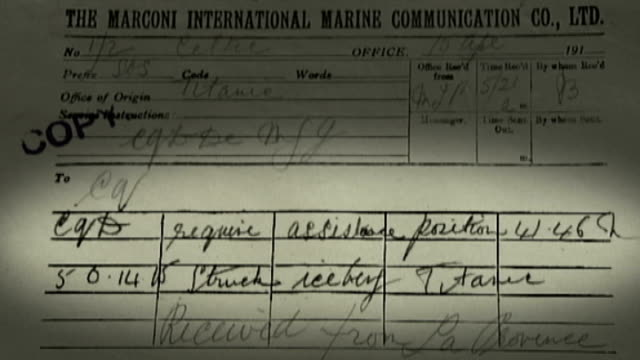 telegrams alerting world to sinking of titanic published; england: oxfordshire: oxford: bodleian library: int graphicised shot marconi telegram sent... - oxfordshire stock videos & royalty-free footage
