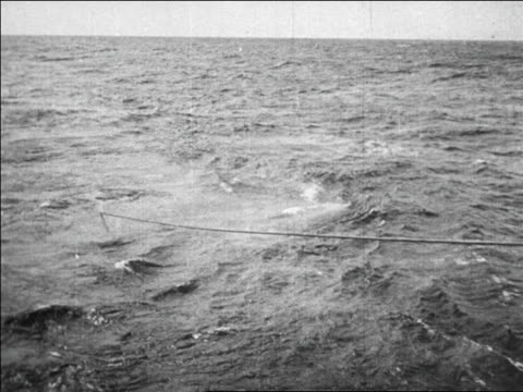b/w 1923 telephone cable emerging from ocean (longest, between havana + key west) / documentary - 1923 stock-videos und b-roll-filmmaterial