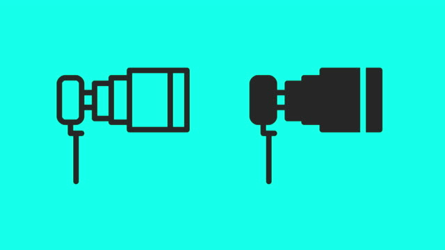 telephoto lens icons - vector animate - telephoto lens stock videos and b-roll footage