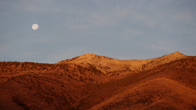 Telephoto shot full moon rising over golden light covered mountain at sunrise.