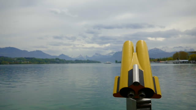 telescope over lake lucerne and mountain - lake lucerne stock videos & royalty-free footage