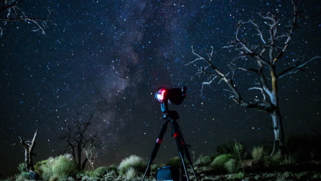Telescope Watching Milky Way Over Mojave National Preserve - Time Lapse