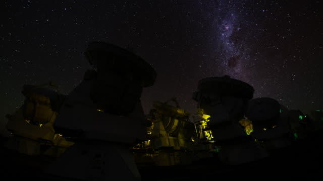 alma telescopes and milky way - observatory stock videos & royalty-free footage