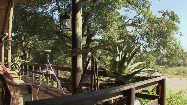 ws telescopes in porch of lodge in kruger national park / mpumalanga province, south africa - mpumalanga province stock videos and b-roll footage