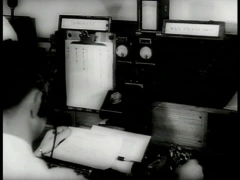 teletype operator on machine. teletype receiving tape. radio operator. men in press room. communication watch officer room. filing through papers.... - 1937 stock videos & royalty-free footage