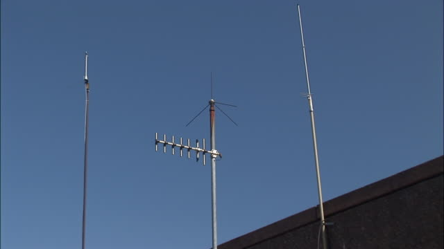 zi, cu, television antenna against blue sky - television aerial stock videos and b-roll footage