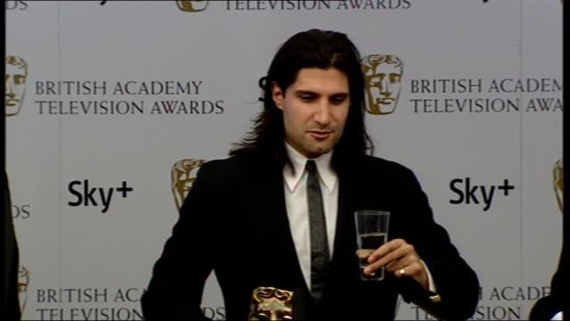 Winners' room interviews 'Fonejacker' team on stage Kayvan Novak interview SOT Surprised to win Best Comedy award / Making second series of...