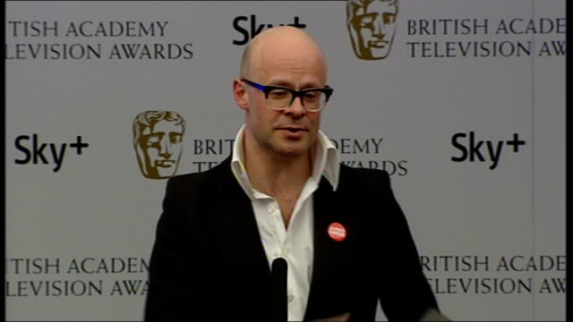 Winners' room interviews Harry Hill interview SOT Likes to watch BAFTAs on tv with a Chinese takeaway / Says speech was gibberish / Thanked 'Freaky...