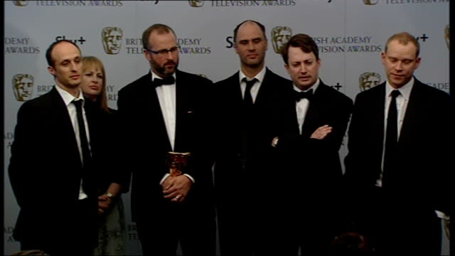 Winners' room interviews 'Peep Show' production team and actors on stage David Mitchell interview SOT Identify with the characters and hope something...
