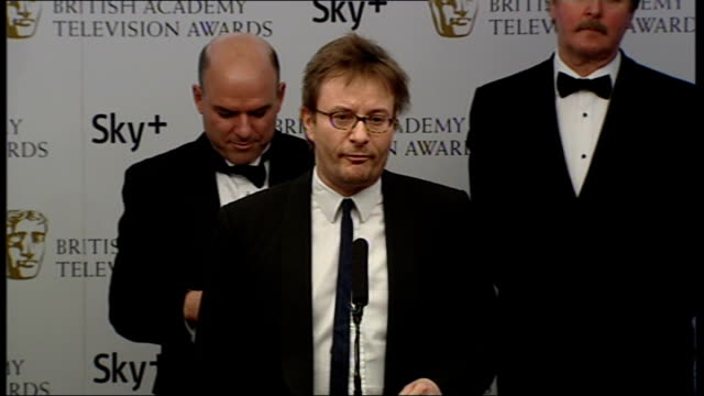 television awards 2008: winners' room interviews; sky news team on stage john ryley interview sot - on how sky news reported terrorist attack on... - the glasgow airport attack stock videos & royalty-free footage