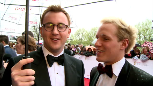 Red carpet arrivals ENGLAND London EXT / RAINING Francis Boulle and Jamie Laing interview SOT / Zoe Hardman interview SOT / Andy Jordan and Louise...