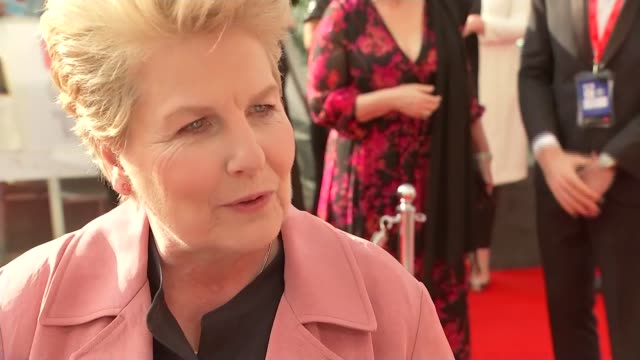 red carpet interviews england london southbank centre sandi toksvig interview sot - sandi toksvig stock videos & royalty-free footage