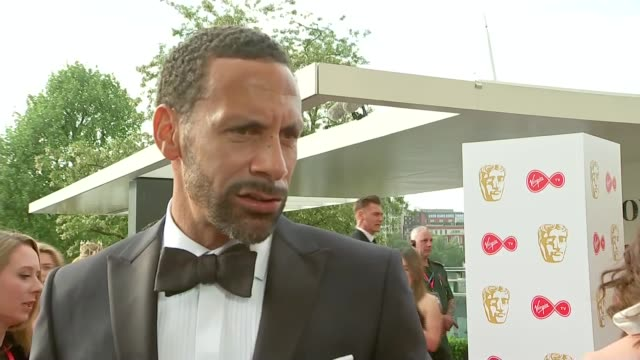 red carpet interviews england london southbank centre rio ferdinand interview sot - british academy television awards stock videos & royalty-free footage