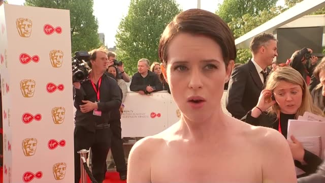 red carpet interviews england london southbank centre claire foy interview sot - british academy television awards stock videos & royalty-free footage
