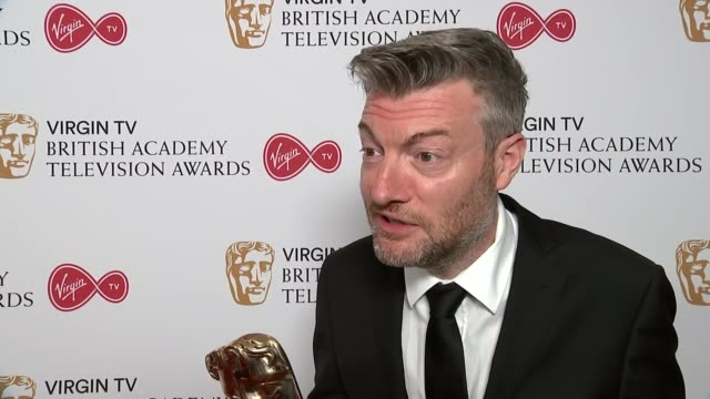 Winners' room interviews ENGLAND London The South Bank Royal Festival Hall INT Mike Gunton and Tom HughJones interview SOT Charlie Brooker interview...